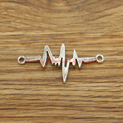 2 Heartbeat Connector Charms Silver Tone Pulse Heart rate SC6987
