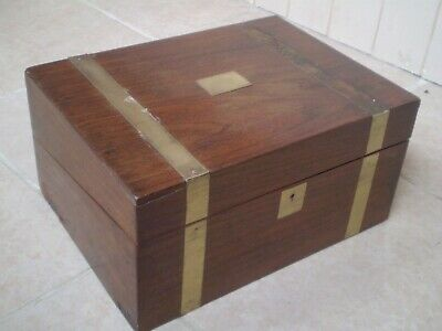 Antique Wooden Writing Box Slope....with Brass Inlay...
