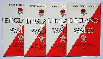 England  Wales  Rugby Union Programmes 1960 1962 1964 1966 (4)