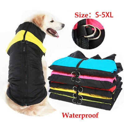 Waterproof Small/Large Pet Dog Clothes Winter Warm Padded Coat Vest Jacket S~5XL