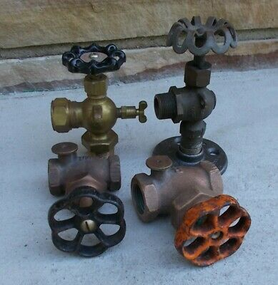 Antique And Vintage 3/4 Inch Brass Safety Steam Valves Steampunk