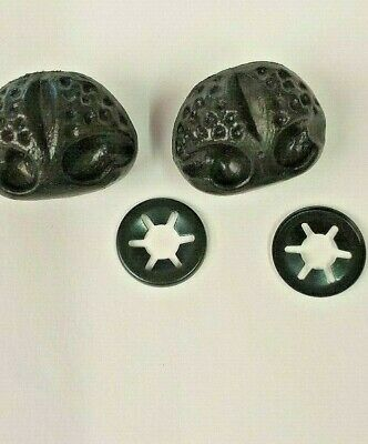 2 x BLACK ANIMAL / DOG PLASTIC NOSES WITH WASHER FIXING 26mm x 20mm