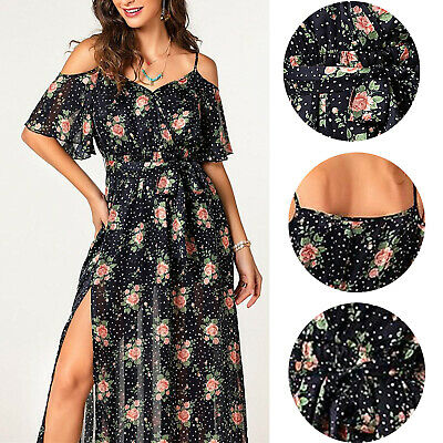 Womens Summer Floral Cold Shoulder Short Sleeve Beach Midi Dress Split Sundress