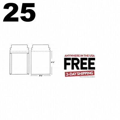 25 CD/DVD White Cardboard Mailers Self Seal with Flap (5 5/8 x 6 1/2) **2 DAY