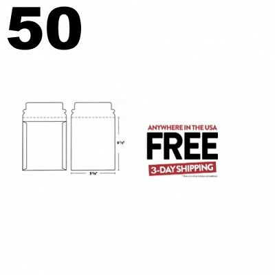 50 CD/DVD White Cardboard Mailers Self Seal with Flap (5 5/8 x 6 1/2) **2 DAY