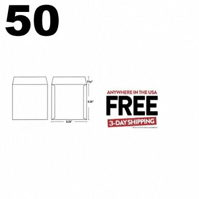 50 CD/DVD White Cardboard Mailers, Self Seal Mailers /w Flap 5.25 x 5.25 **2 DAY