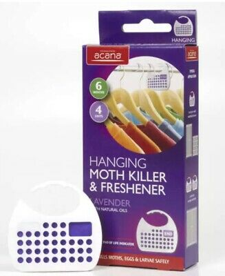 Pack of 4 Acana HANGING MOTH KILLER & FRESHENERS with Lavender Fragrance 2675-1