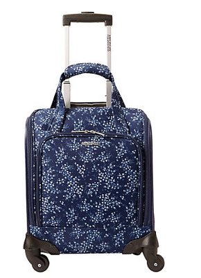 "American Tourister Lynnwood 16"" Underseat Spinner Carry-On Blue Floral"