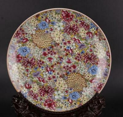 chinese old porcelain hand-painted Colored enamel flowers pattern plate 1051