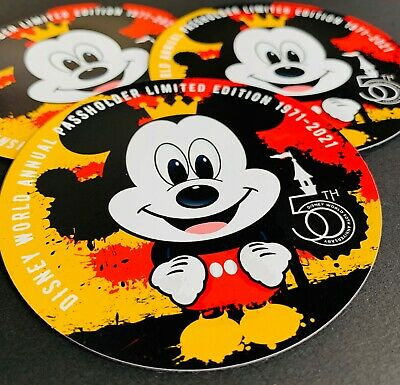 Disney World 50th Anniversary Passholder Magnet featuring Mickey Mouse Fan Art