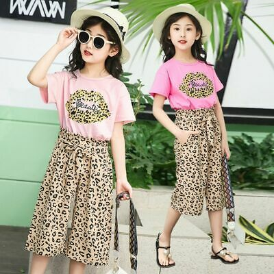 Leopard Print T-shirt Pants Girls Summer Bohemia Two Piece Polyester Tracksuit