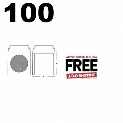 100 CD/DVD White Cardboard Mailers, Self Seal with Window & Flap (5 x 5) **2 DAY