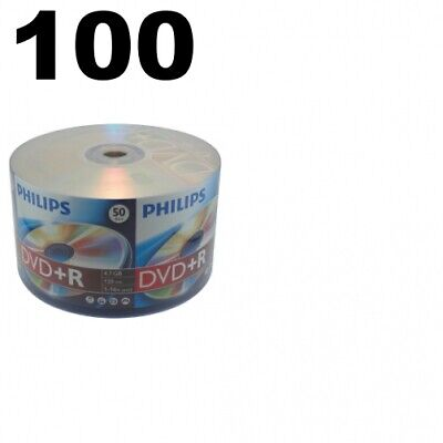 100 Philips 16X DVD+R 4.7GB (Philips Logo on Top) ** 1-3 DAY