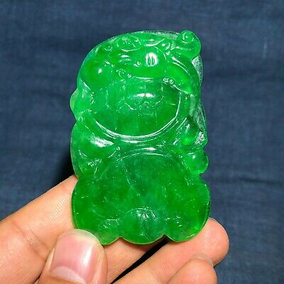 Chinese Green Jadeite Jade Carved Dragon Turtle & Ruyi Collectible Pendant B1065