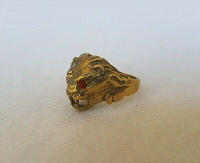 rare ancient bronze ring viking lion head artifact bronze ring authentic