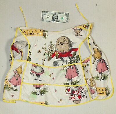 vtg Child's Art/School SMOCK Apron Fairy Tales Alice in Wonderland Humpty Dumpty