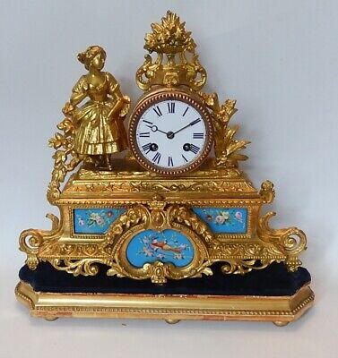 Superb Victorian  S. Marti  French Gilt Figural  Striking Mantel clock  3015