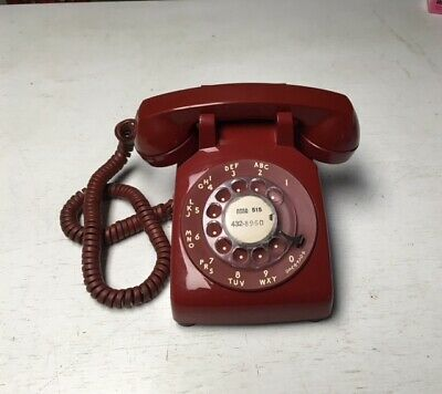 Vtg Red Rotary Phone VGC Bell System Western Electric Works MCM Retro Atomic