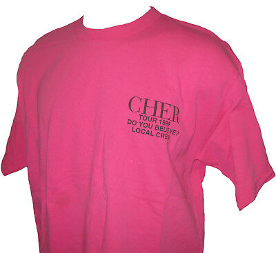 Cher 1999 Do You Believe Tour Canada Concert Local Crew T-shirt XL Hot Pink New