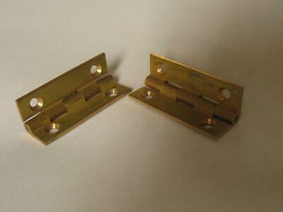 """Pair vintage quality solid brass butt hinges  1 1/4"""" x 11/16""""   jewellery boxes,"""