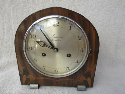 Vintage Art Deco Sanders London Hac Striking Mantel Clock For Tlc
