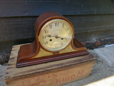 Vintage Inlaid Napoleon Hat Striking Mantel Clock