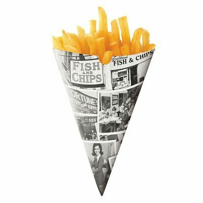 Traditional Newspaper Fish and Chips Fries Style Cones Fast Food ,Fish & Chips