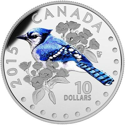 Canada 2015 $10 Colourful Songbirds of Canada: The Blue Jay Pure Silver Coin