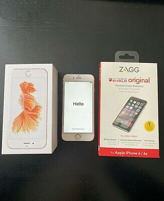 iPhone 6S Rose Gold 64GB Unlocked Zagg Invisible Shield Screen Protection