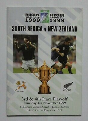 South Africa New Zealand Rugby World Cup Programme 1999 Play-Off