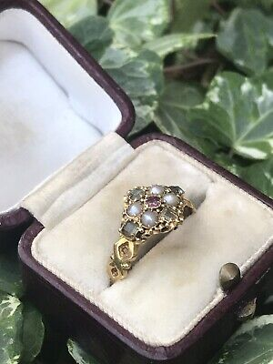 Antique Victorian 18ct Yellow Gold Pearl Ruby Emerald Cluster Ring.