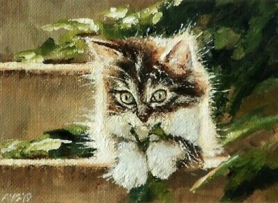 ACEO Original Painting Of Cute Kitten/Cat Sitting On Stairs