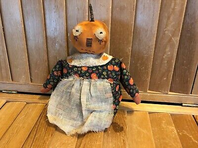 Primitive Pumpkin Stump Doll - black with pumpkins dress - Fall/Halloween