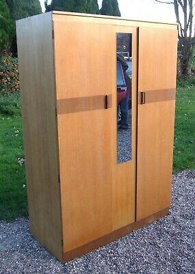 Vintage Mid-Century Lebus Two-Door Double Size Wardrobe with mirrors