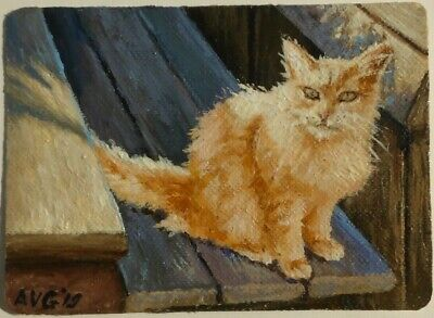 ACEO Cat sitting on bench Original miniature painting