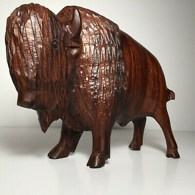 Ironwood hand carved North American Bison sculpture. Shipped with USPS Priority