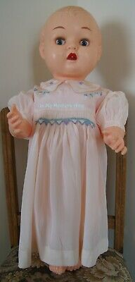 1930s childs pink summer Dress with smocking and embroidery length 43 cm