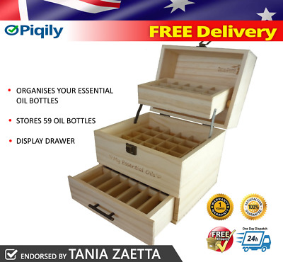 3 Tier Essential Oil Storage Box Wooden Case Organizer 59 Bottle Display!