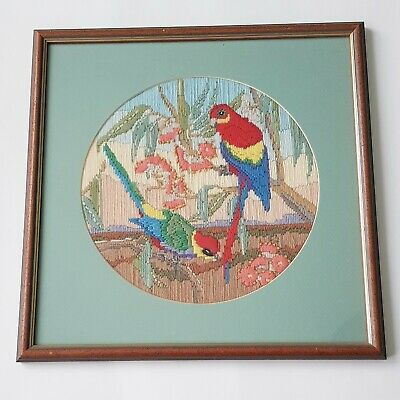 Vintage Framed Australian Native flora & Fauna wildlife long stitch Completed