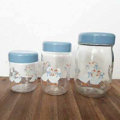 Set of 3 Vintage Le Parfait Clear Glass Canister Jar With Geese snow  Blue Lid