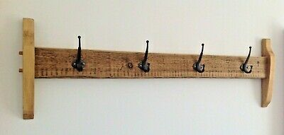 WOODEN COAT RACK - Elegant ARTS & CRAFTS style RUSTIC TIMBER + 4 cast-iron hooks