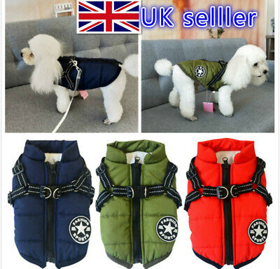 2 In 1 Pet Dog Winter Warm Skiing Costume Coat Vest With Chest Strap Harness UK