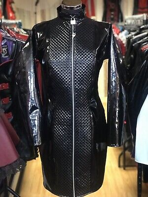 Misfitz black PVC padlock lockable zip mistress dress size 22. Goth TV CD Fetish
