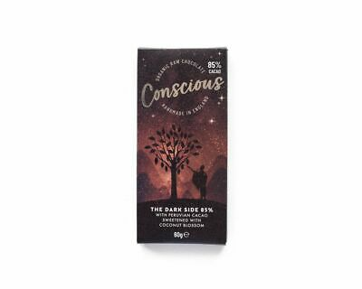 Conscious Chocolate Dark Side 85% Raw Choclate Bar 60g (Pack of 10)