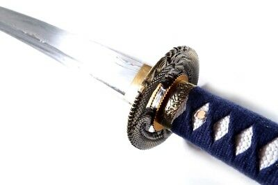 Hand Forged and Folded Steel Blue Dragon Samurai Sword