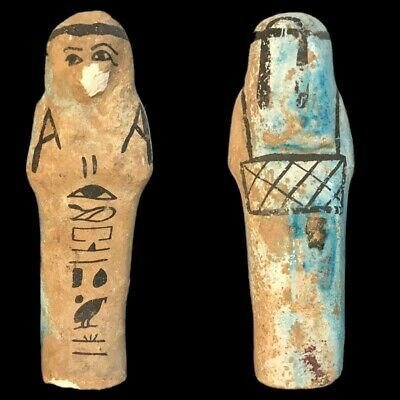 EGYPTIAN HIEROGLYPHIC SHABTI, LATE PERIOD 664 - 332 BC (2) Large Over 10 cm !!!!