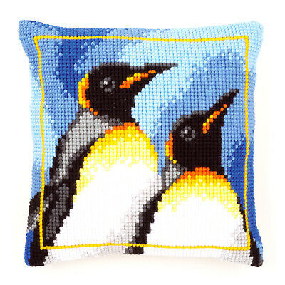 King Penguins Large Holed Printed Canvas Tapestry/Chunky CrossStitch Cushion Kit
