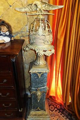 Marbre Bronze Splendeur Colonne Chandelier Lustre Lampe Aigle Antique Baroque