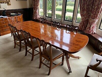 Regency Style WADE Flamed Mahogany Long Dining Table & 10 Chairs Cost £27,000 !