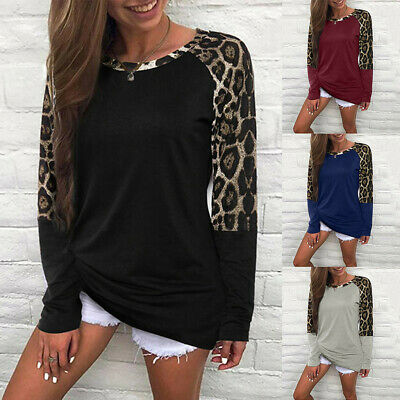 Womens Casual Loose Leopard Splice Long Sleeve Pullover Top T Shirt Tunic Blouse